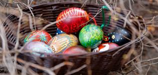 Värjättyjä pääsiäismunia korissa