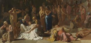 Michiel Sweertsin 1650-luvulta kuvaa kulkutaudista kärsiviä ihmisiä antiikin kaupungissa.