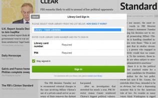 Kuvakaappaus PressReader-palvelun sisäänkirjautumisesta