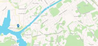 Piirretty kartta Turun kaupungista. Kartassa näkyy Aurajoen suisto, sekä Hirvansalon pohjoiskärki.