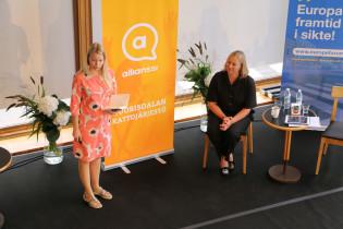 Janika Takatalo ja Jutta Urpilainen Allianssin tilaisuudessa Eurooppa-foorumissa 2020