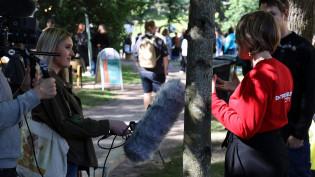 Study in Turku -messuvideon kuvausryhmä messuilla