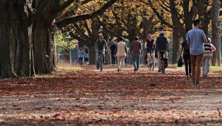 Syksyisellä kadulla kävelijöitä ja pyöräilijöitä.