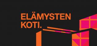 Koristeellinen kuva. Oranssi Elämysten koti -teksti mustalla taustalla.