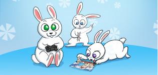 Kolme piirrettyä pupua istuu tai makaa maassa. Yhdellä kädessä peliohjain, toinen rakentaa palapeliä, kolmas ompelee nukkea.