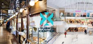 Turku Center -logo ja teksti Kauppahallin ja Hansakorttelin kuvien päällä