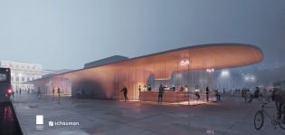 Toripaviljonkien havainnekuva, jossa näkyy valaistu palvinjonkirakennus iltahämärällä.