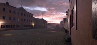 Näkymä Suurtorille vuonna 1812, 3D-mallinnos Kuvan tunnelma on hämärä. On auringonlasku tai -nousu.