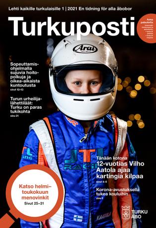 Turun kaupungin asukaslehden Turkupostin 1, 2021 kansikuvassa on 12-vuotias, ajoasuun pukeutunut Vilho Aatola valkoinen kypärä päässään.