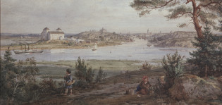 Vanha taulu, jossa näkyy Turun linna (rajattu)