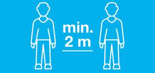 Koronakyltti, muista turvaväli vähintään 2 m.
