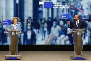 Euroopan komssion puheenjohtaja Ursula von der Leyen ja Eurooppa-neuvoston puheenjohtaja Charles Michel 20.7.2020