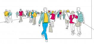 Piirroskuva ihmisistä asioimassa kaupungilla.