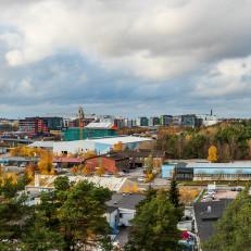 Ilmakuva Turun Tiedepuiston ja Itäharjun alueelta.