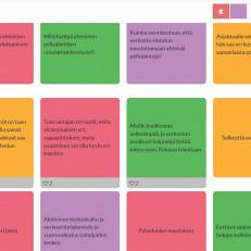 Digituen seutukunnallisen verkoston työpajaan osallistuneiden pohdintaa yhteisiin digituen pelisääntöihin sähköistä Flinga-työkalua hyödyntäen.