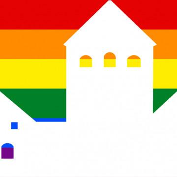 Turun linna sateenkaaren väreissä.