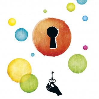 Kulttuuripääkaupunkivuoden värikkäitä palloja, lukko ja avain.