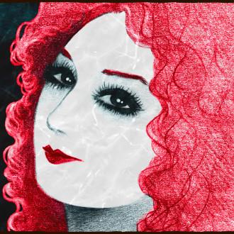 Punatukkainen nainen hymyilee salaperäisesti piirroskuvassa