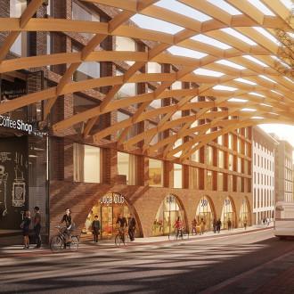 Keskustavision 2050 visiokuva kaupunkiterminaalista.