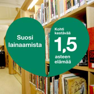 Kirjasto 1,5 asteen kampanjalogolla