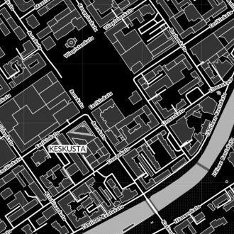Palvelukartan vahvakontrastinen näkymä Turun keskustan alueella. Mustavalkokäyttöliittymän saa käyttöönsä esimerkiksi Kontrasti-kohdassa palvelukartalla.