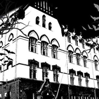 Piirretty tummasävyinen kauhukuva Vimman rakennuksesta. Myrsky heiluttaa lehdettömiä puita ja lepakot lentävät.