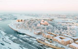 Talvinen, ylhäältä kuvattu havainnekuva Linnanniemen kilpailutyöstä Kolme palaa.