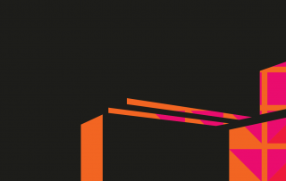 Teatteritalon graafinen, oranssi siluetti mustalla taustalla.