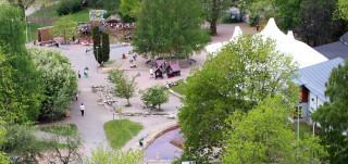 Seikkailupuiston alue yläpuolelta kuvattuna