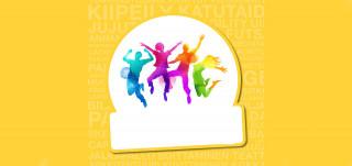 Värikkäät ihmishahmot hyppäävät valkokeltaisessa taustassa