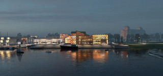 Historian ja tulevaisuuden museo Linnanniemellä, ideakilpailun voittaneen ehdotuksen mukaan.