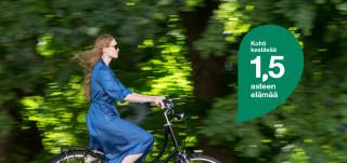 Pyöräilijä ja 1.5 asteen elämä-logo