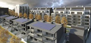 YH-Kodit Oy:n havainnekuva Skanssin uuden kaupunginosan taloista
