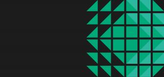 Teatteritalon säleikkökattoon pohjautuva vihreä geometrinen kuvitusgrafiikka.