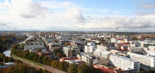 Turun keskustaa tuomiokirkon tornista