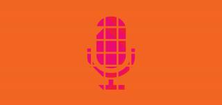 Pöytämikin graafinen symboli pinkkinä oranssilla taustalla.