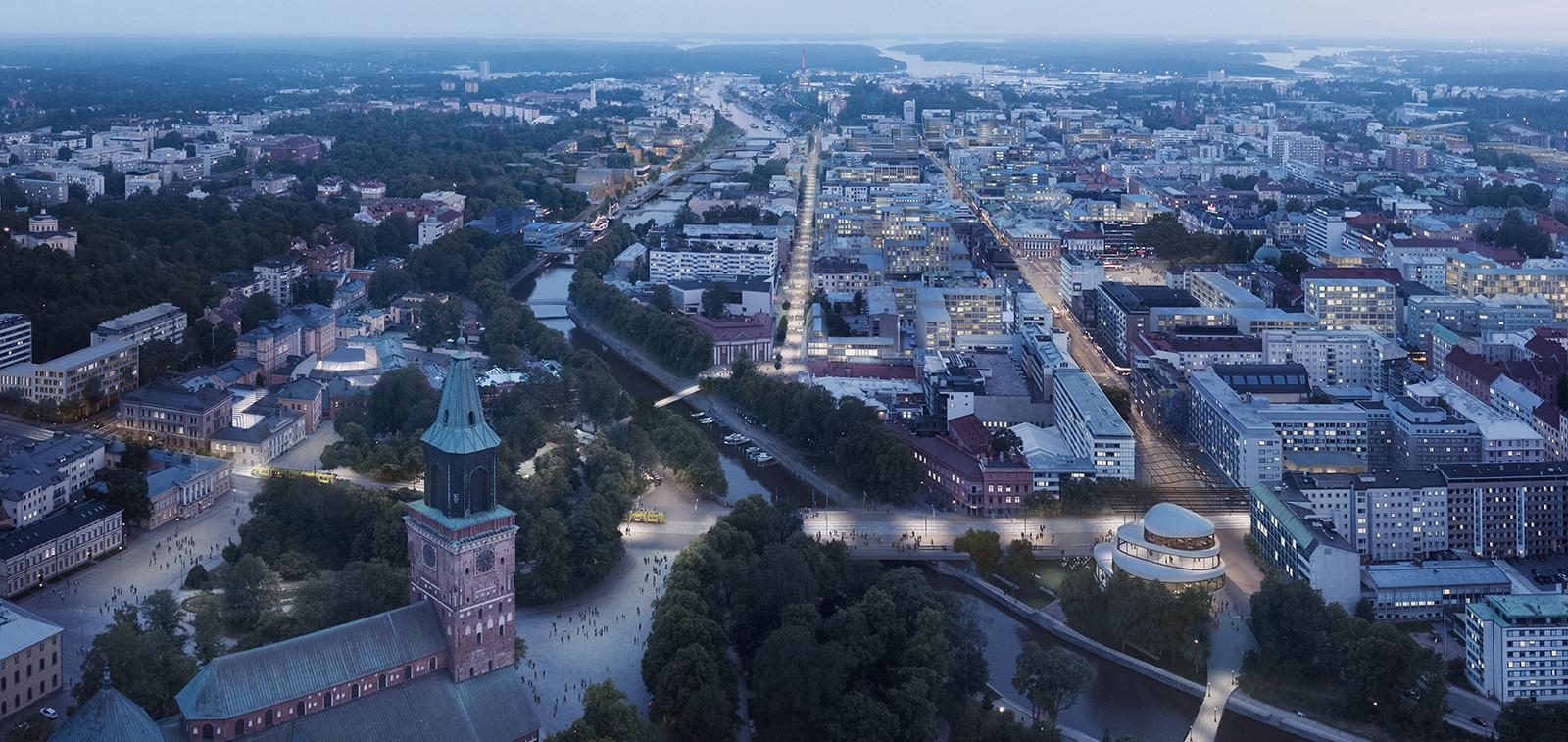 Visiokuva Turun keskustasta. Kuva: Lundén Architecture Company