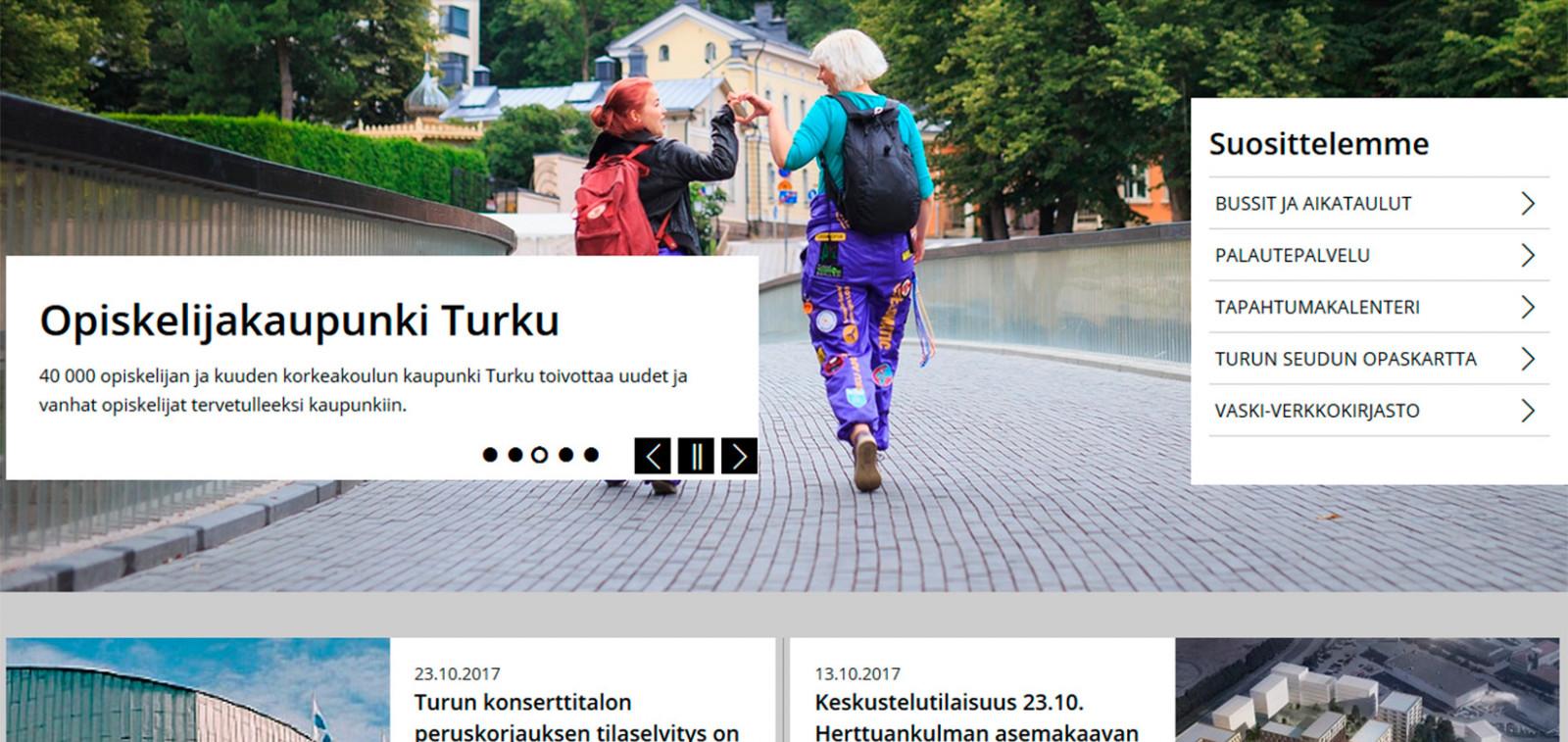 Vahvakontrastinen tyyli valittuna turku.fi:ssä