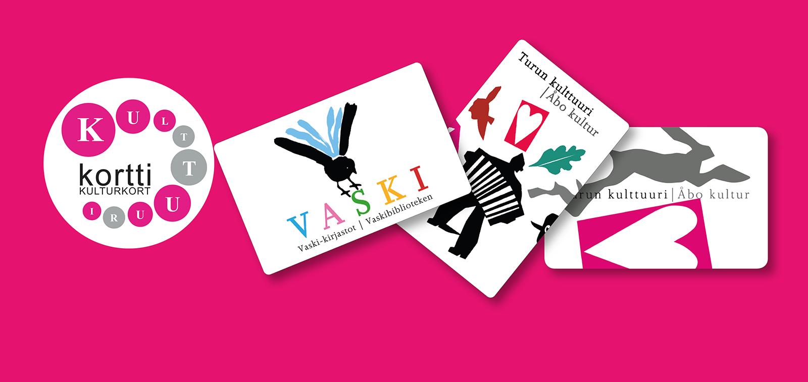 Kulttuurikortti-logo ja kolme kulttuurikorttia