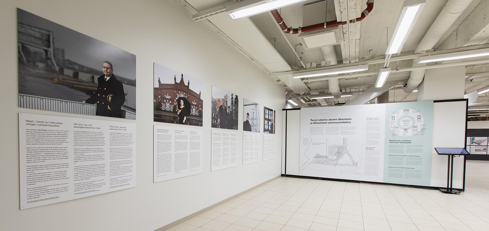 Linnanniemen kehittämisen pop up -näyttely Wiklundin valokäytävässä esitteli kuvin ja tekstein alueen ideakilpailun menestyneitä ehdotuksia ja alueella tehtyä nykydokumentointia.