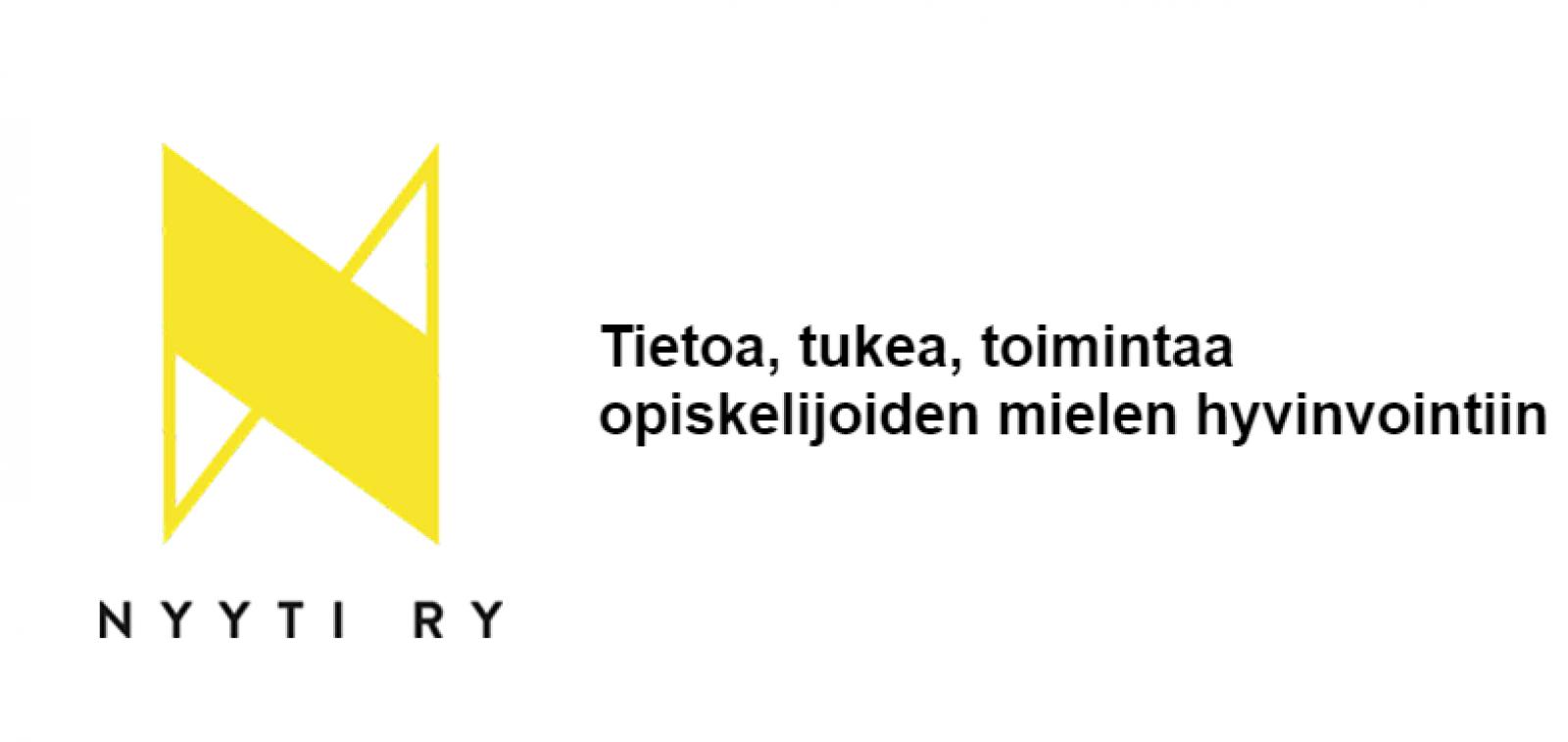 Nyyti ry:n logo tekstillä Tietoa, tukea, toimintaa opiskelijoiden mielen hyvinvointiin