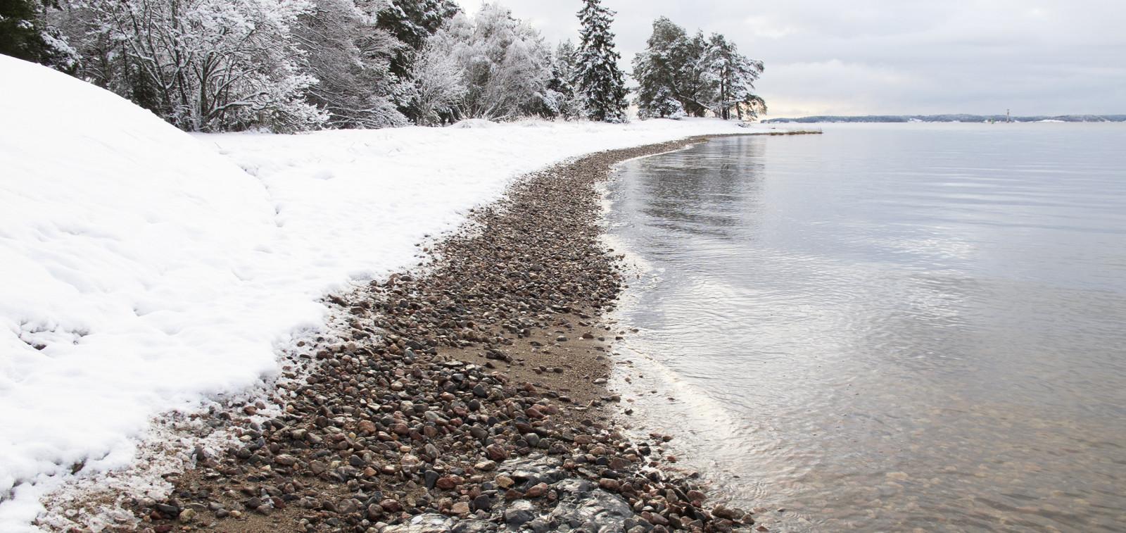 Ruissalo, Saaronniemen ranta talvella