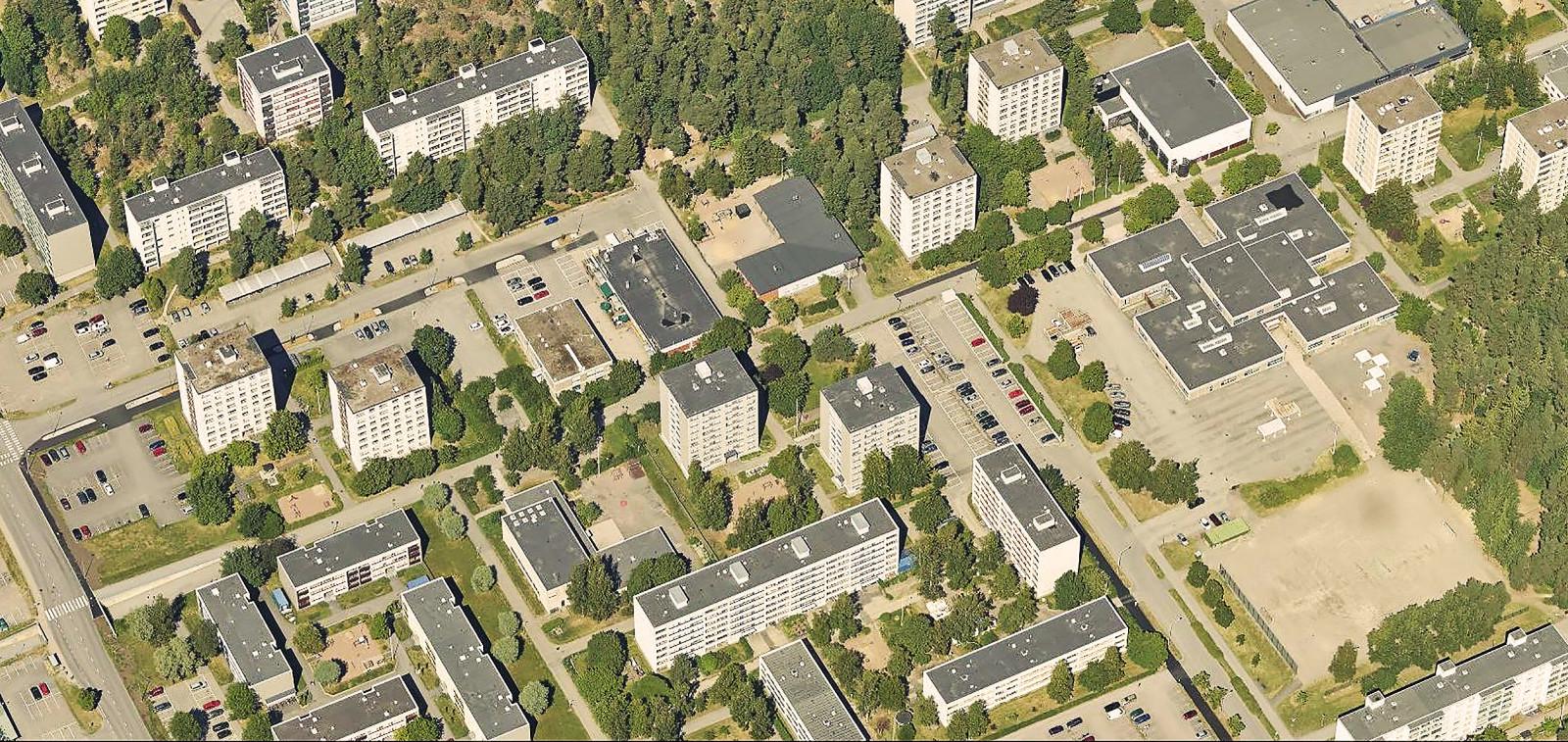 Runosmäki ilmasta käsin: taloja, katuja ja puita
