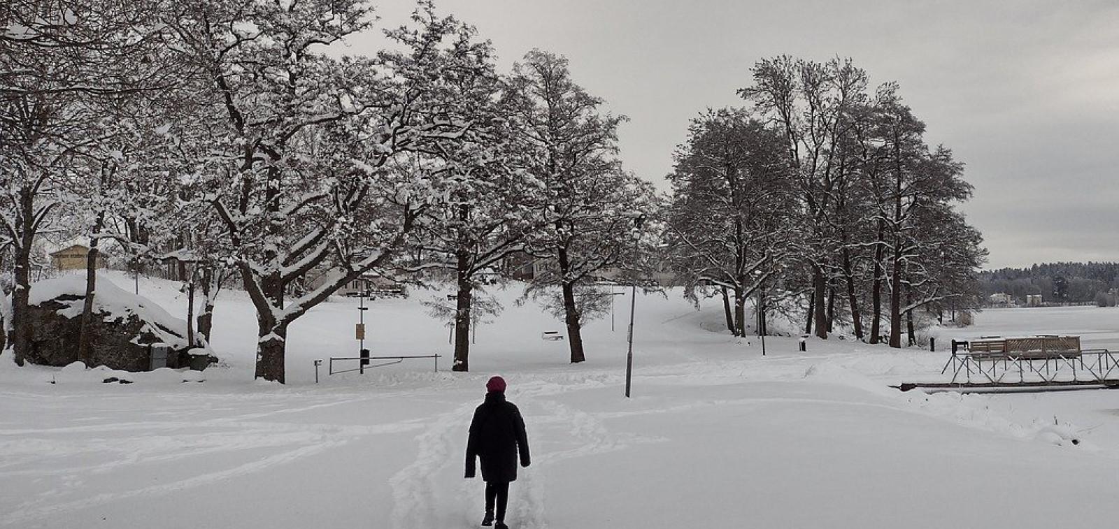 Kävelijä talvisessa maisemassa