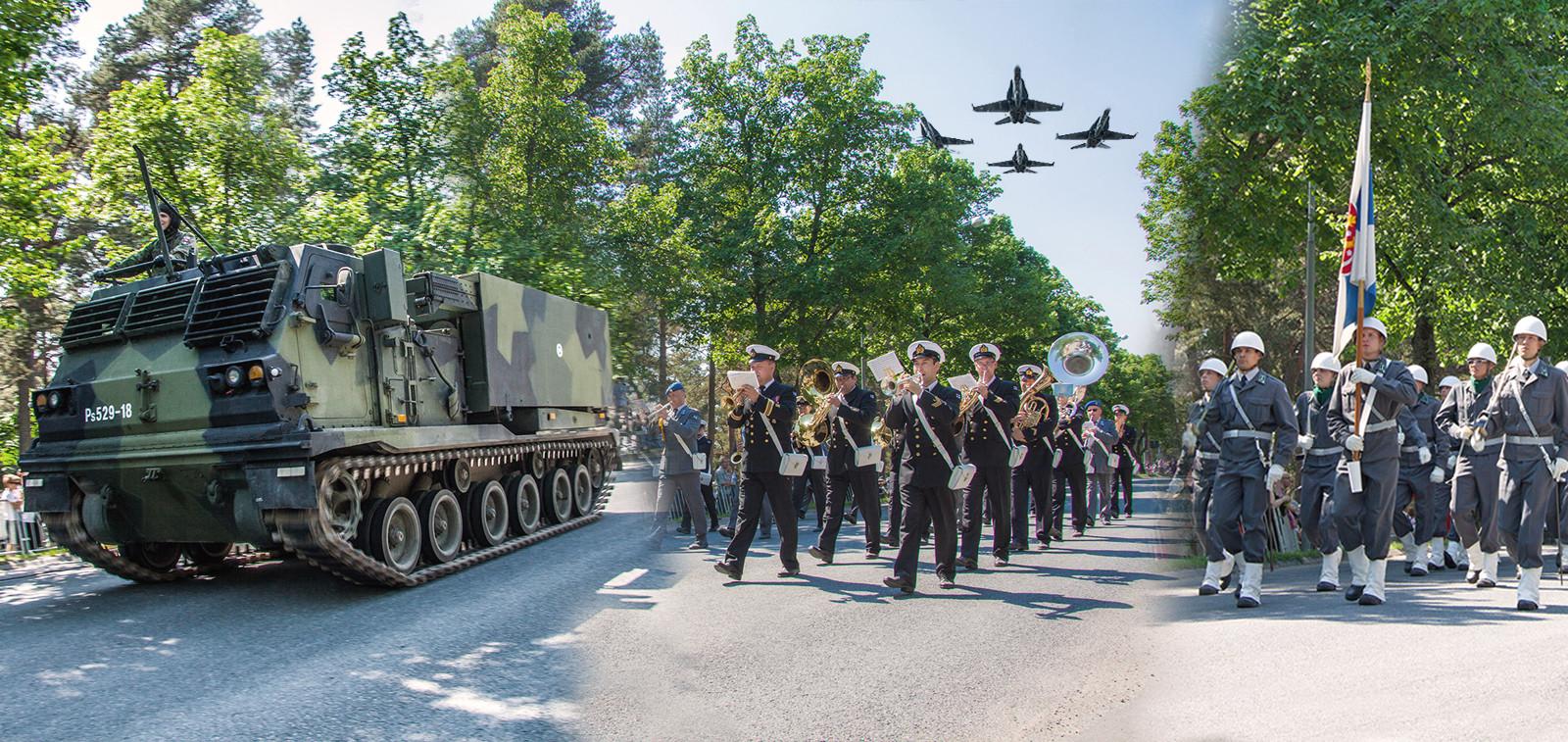 Puolustusvoimain lippujuhlapäivän paraati Turussa 4.6.