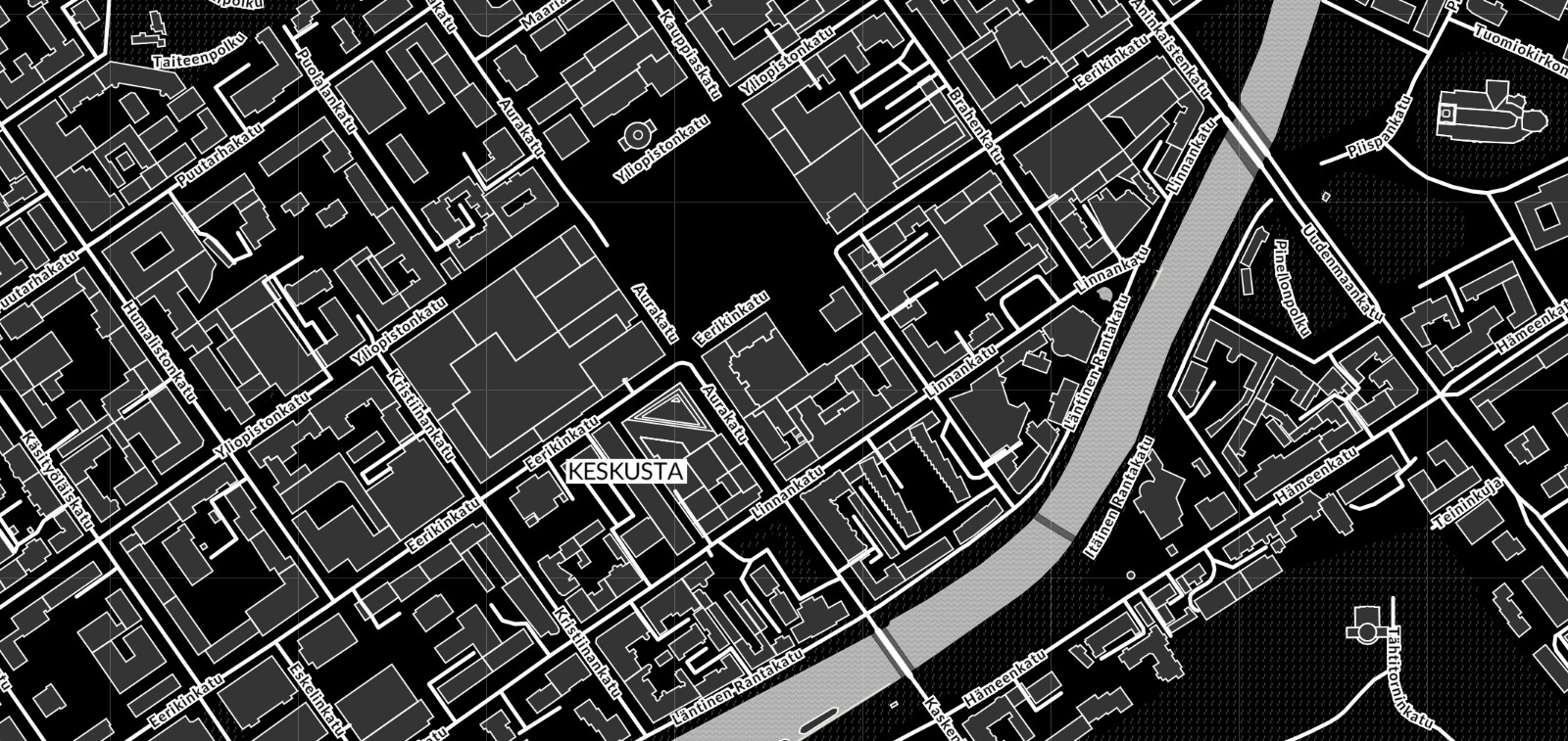 Service map's high contrast view from the centre of Turku. You can change the map layer or the black and white UI on the service map.