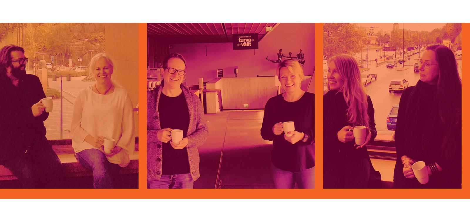 Oranssisävyinen kuvanauha, jossa Väliaika-blogin vieraita