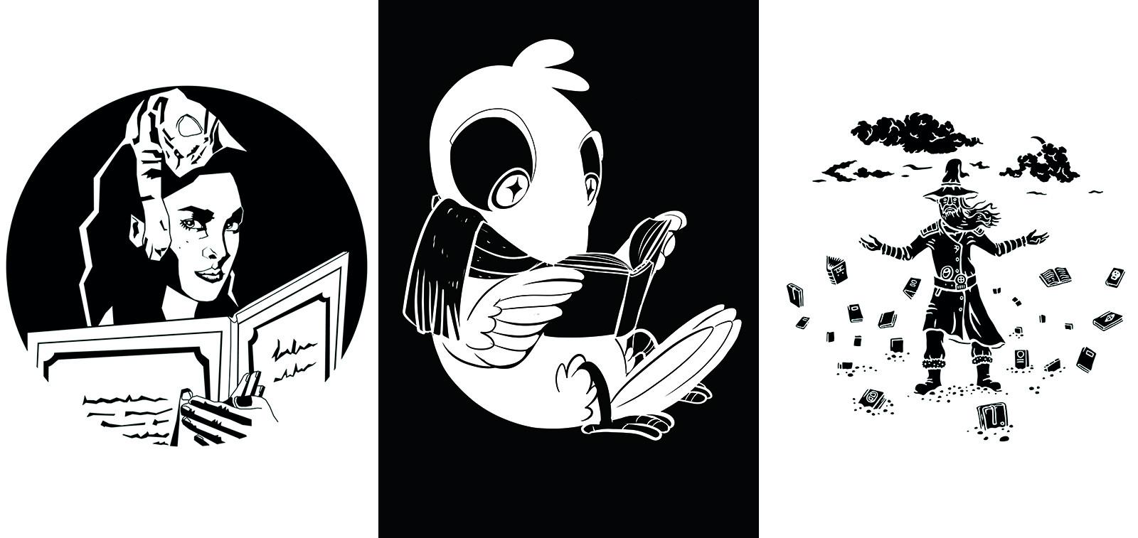 Turun sarjakuvakerhon taiteilijoiden suunnittelemia heijastekuvia