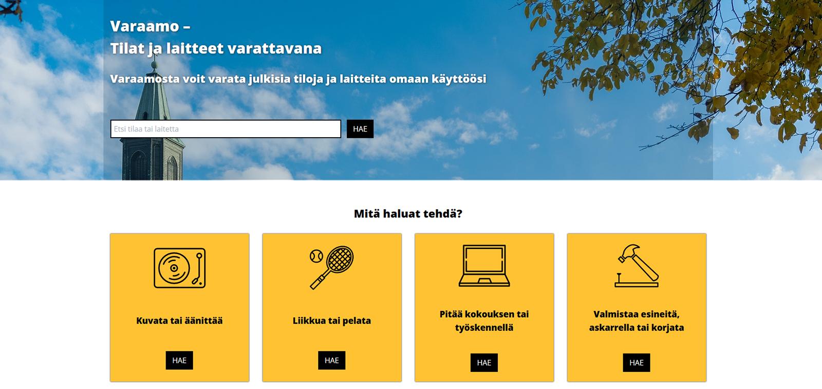 Sivuston varaamo.turku.fi etusivu