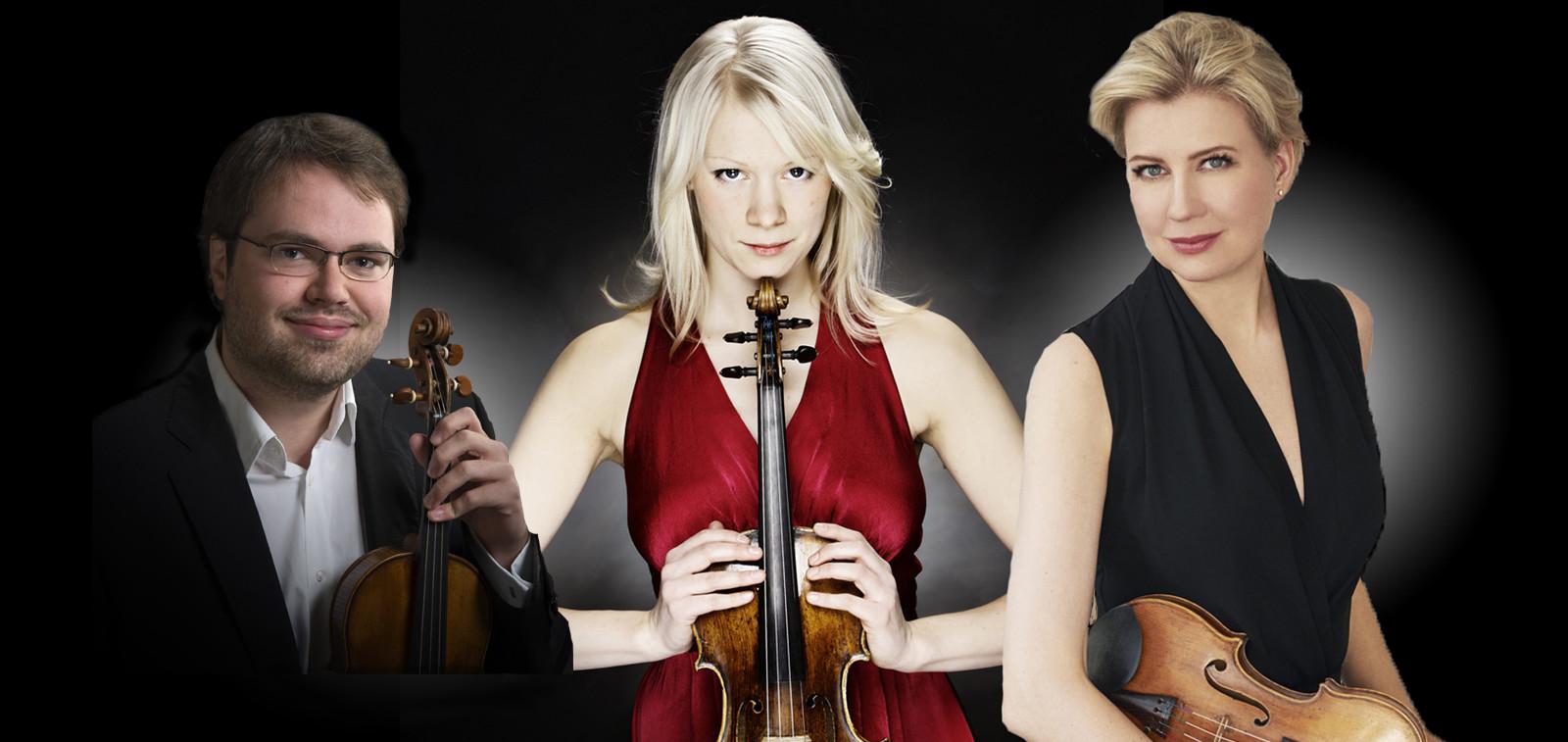 Viulistit Petteri Iivonen, Kreeta-Julia Heikkilä ja Elina Vähälä